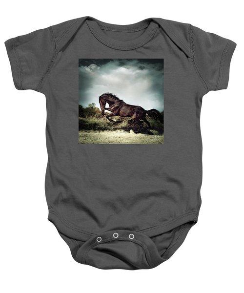 Beautiful Black Stallion Horse Running On The Stormy Sky Baby Onesie