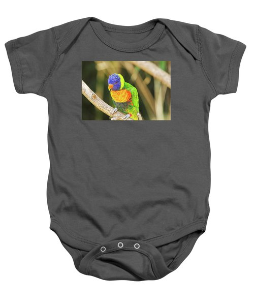 Beautiful Perched Mccaw On A Branch. Baby Onesie