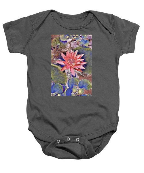 Beautiful Pink Lotus Abstract Baby Onesie