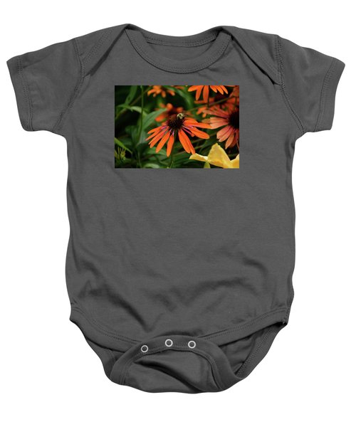 Bee Pollinating On A Cone Flower Baby Onesie
