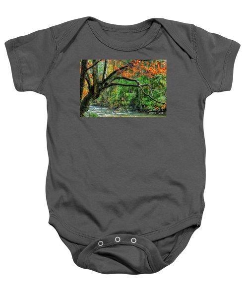Beech Tree And Swinging Bridge Baby Onesie