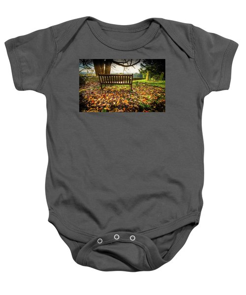 Bench With Autumn Leaves Baby Onesie
