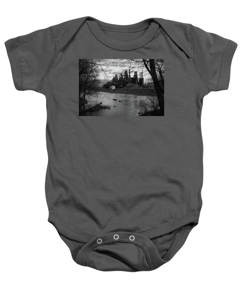 Baby Onesie featuring the photograph Bethlehem Steel Bw by Jennifer Ancker