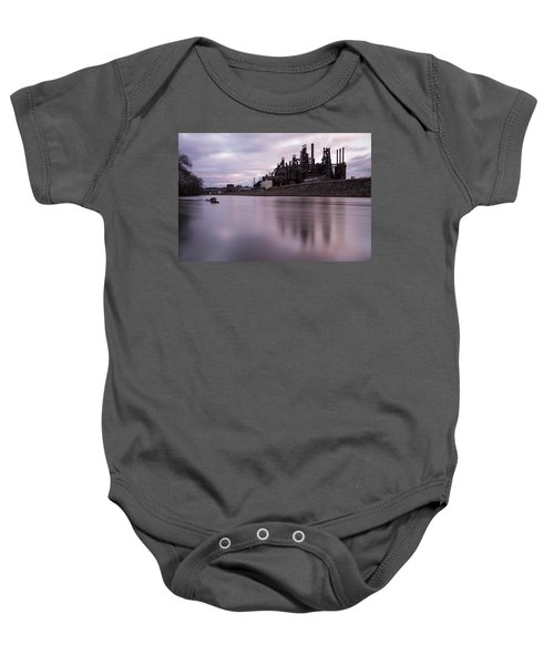 Baby Onesie featuring the photograph Bethlehem Steel Sunset by Jennifer Ancker