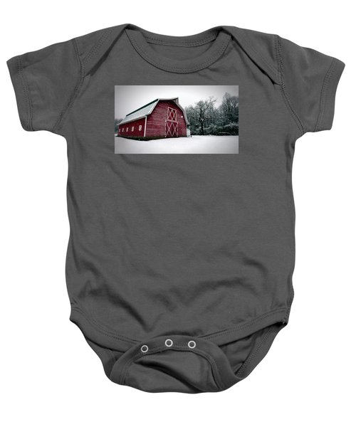 Big Red Barn In Snow Baby Onesie