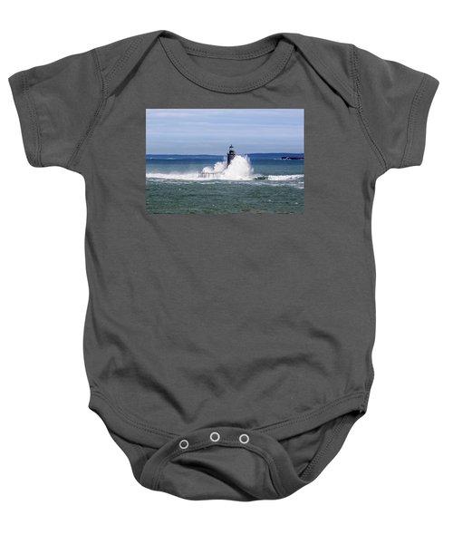 Big Wave Hits Ram Island Ledge Light Baby Onesie