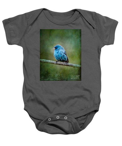 Bird In Blue Indigo Bunting Ginkelmier Inspired Baby Onesie