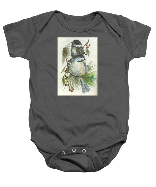 Birds Two And Fir Tree Baby Onesie