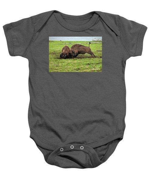 Bison Fighting Baby Onesie