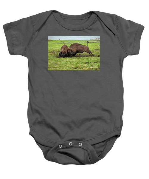 Bison Fighting Baby Onesie