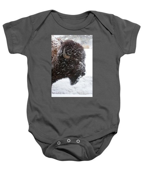 Bison In Snow Baby Onesie