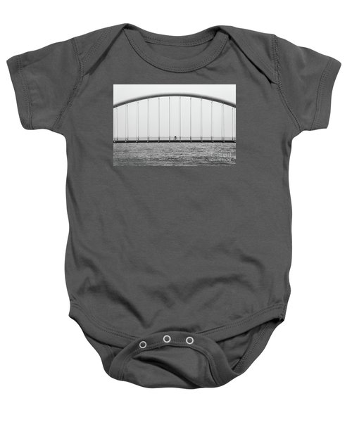 Baby Onesie featuring the photograph Black And White Bridge by MGL Meiklejohn Graphics Licensing