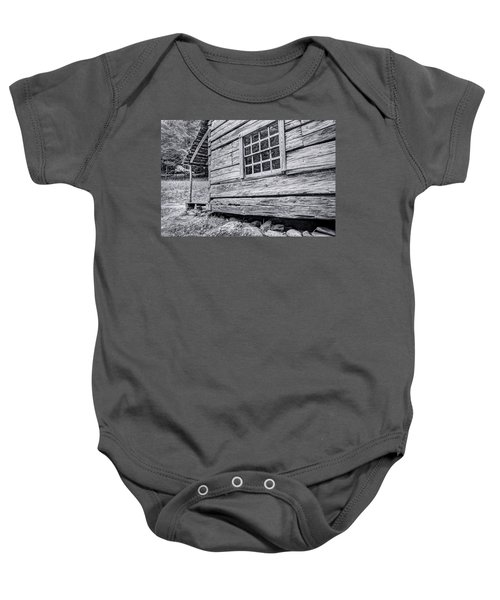Black And White Cabin In The Forest Baby Onesie