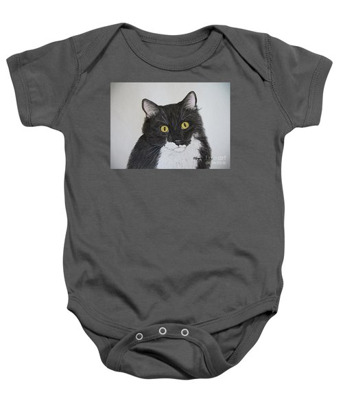 Black And White Cat Baby Onesie by Megan Cohen