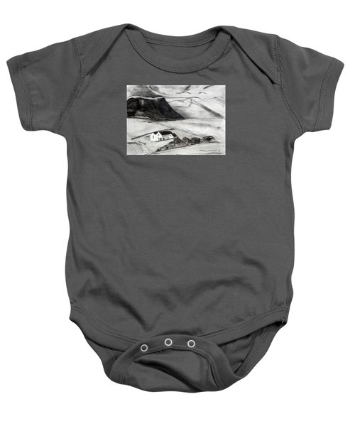 Black And White House And Hills Baby Onesie