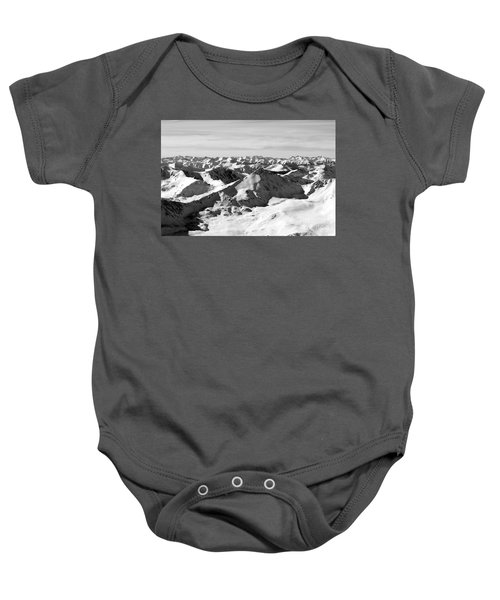 Black And White Of The Summit Of Mount Elbert Colorado In Winter Baby Onesie