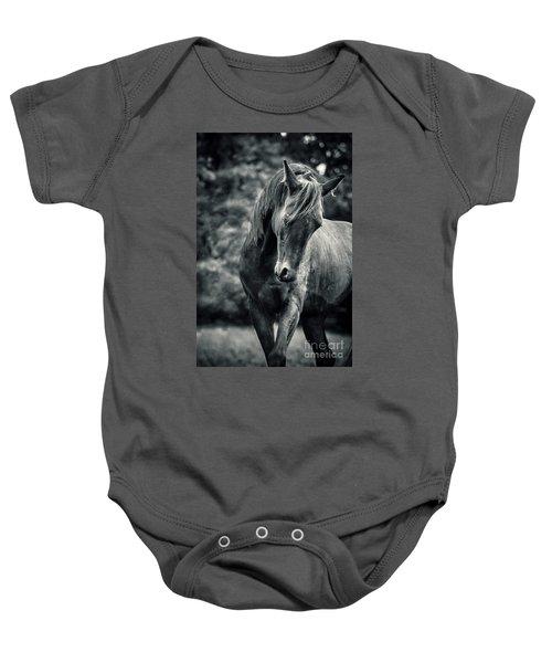 Black And White Portrait Of Horse Baby Onesie