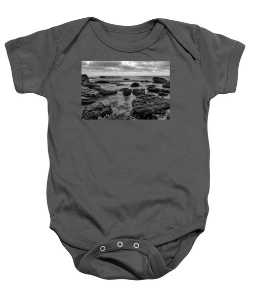 Black And White Sunset At Low Tide Baby Onesie