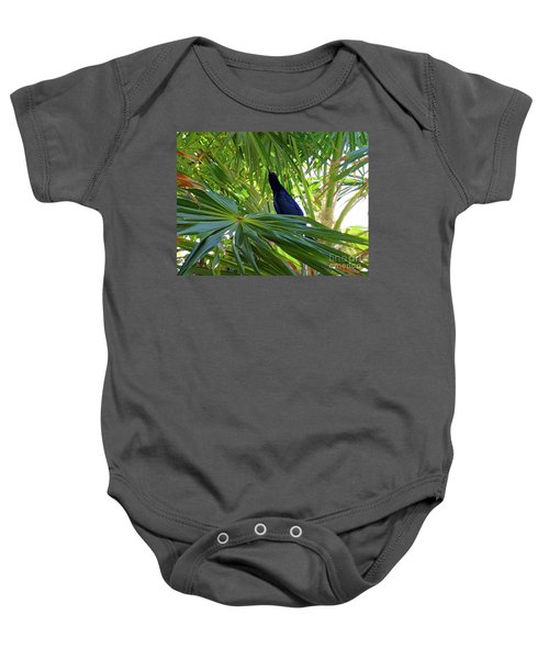 Baby Onesie featuring the photograph Black Bird And Green Leaf by Francesca Mackenney