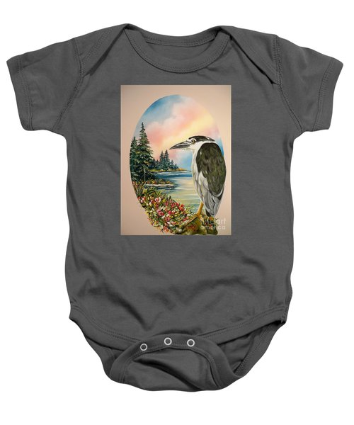 Flying Lamb Productions                     Black Crowned Heron Baby Onesie