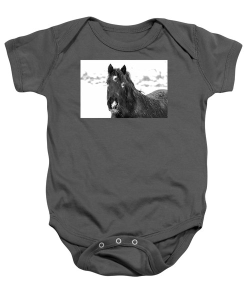 Black Horse Staring In The Snow Black And White Baby Onesie