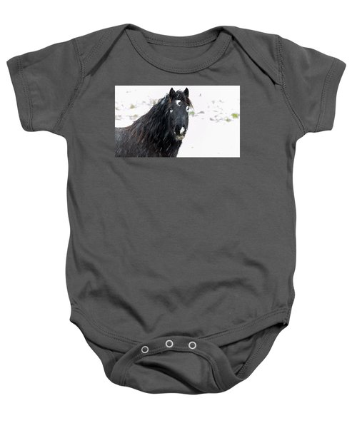 Black Horse Staring In The Snow Baby Onesie