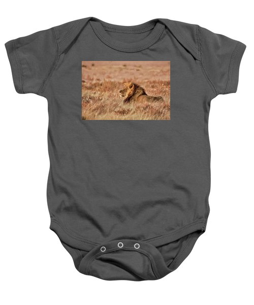 Black-maned Lion Of The Kalahari Waiting Baby Onesie
