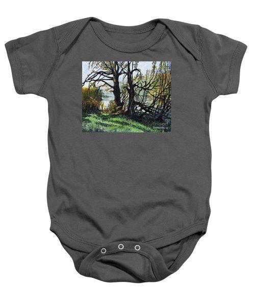 Black Trees Entanglement Baby Onesie