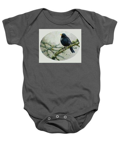 Blackbird Painting Baby Onesie by Alison Fennell