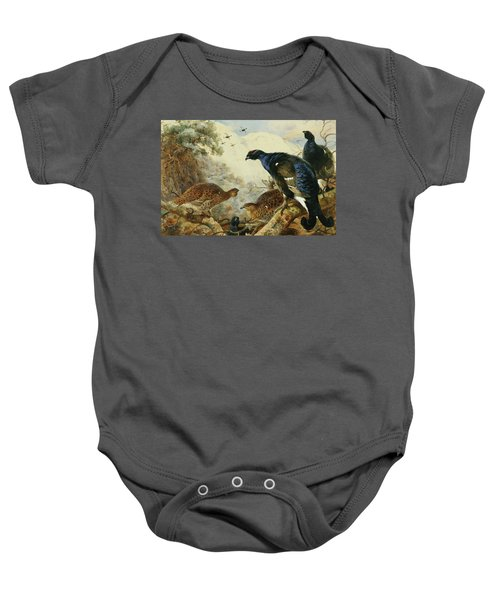 Blackgame Or Black Grouse Baby Onesie by Archibald Thorburn