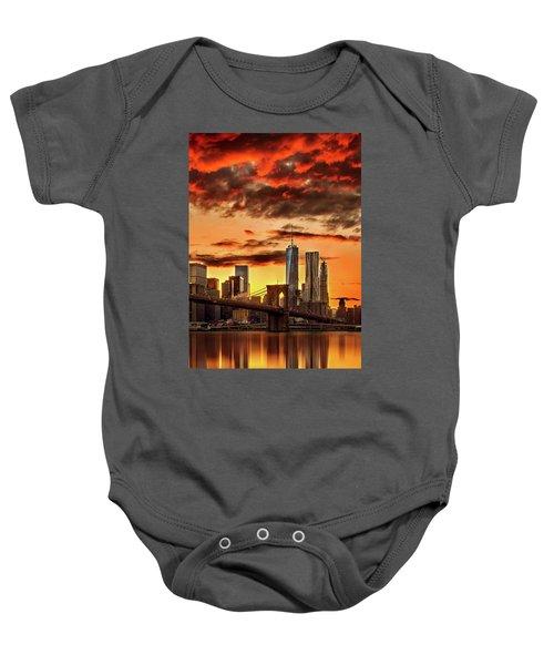 Blazing Manhattan Skyline Baby Onesie by Az Jackson