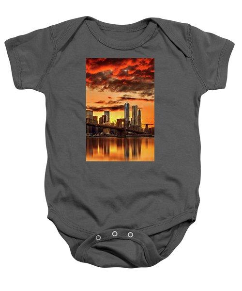 Blazing Manhattan Skyline Baby Onesie