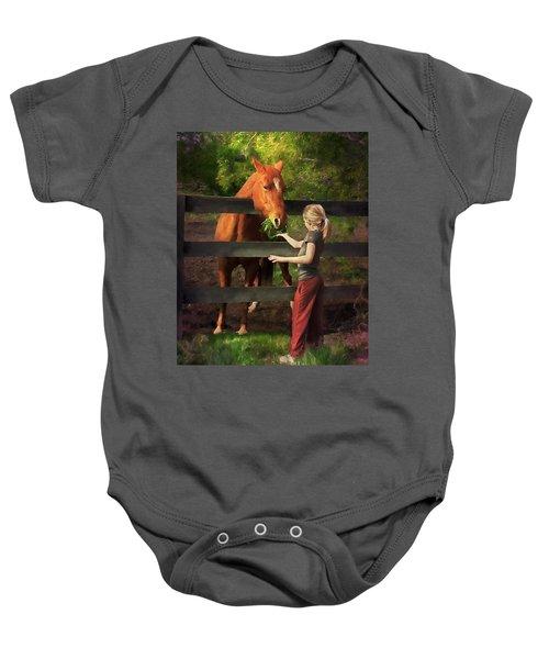 Blond With Horse Baby Onesie