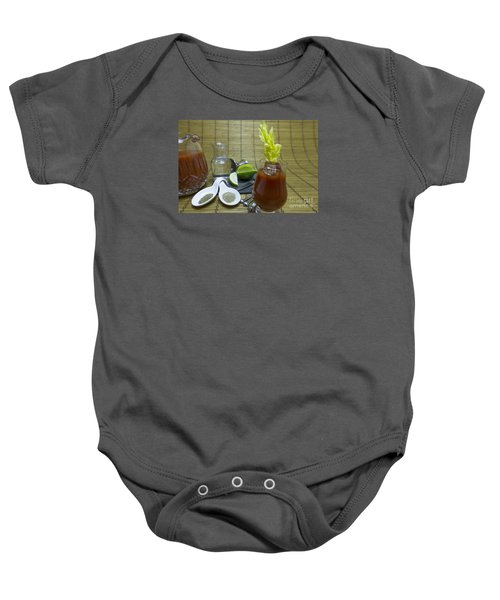 Bloody Mary Cocktail With Ingredients Baby Onesie by Karen Foley