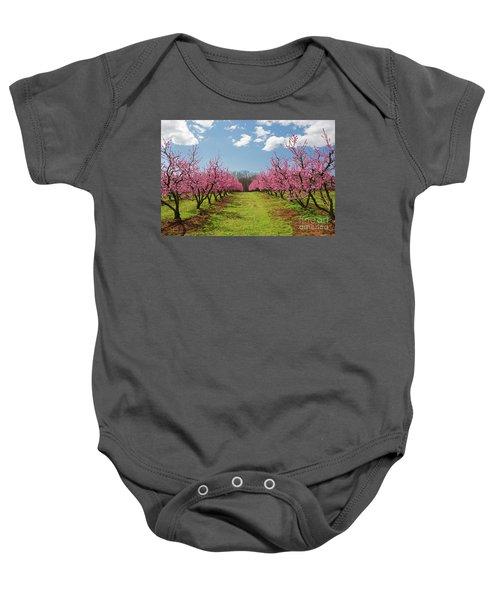 Blooming Peach Orchard 1 Baby Onesie