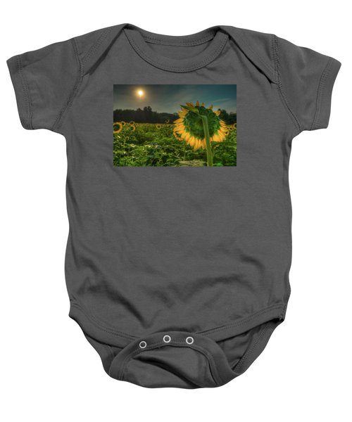 Blooming Sunflower Facing Rising Sun Baby Onesie