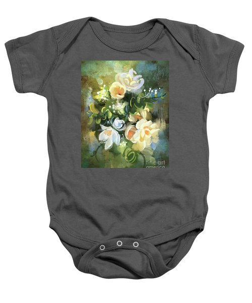 Baby Onesie featuring the painting Blooming by Tithi Luadthong
