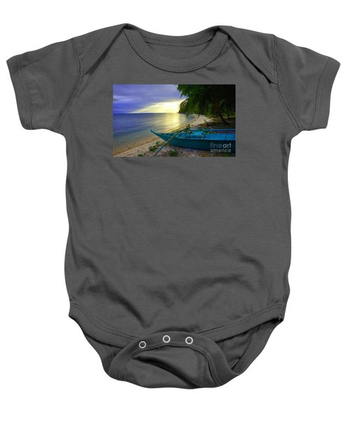Blue Boat And Sunset On Beach Baby Onesie