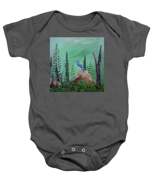 Blue Chickadee Standing On A Rock 2 Baby Onesie