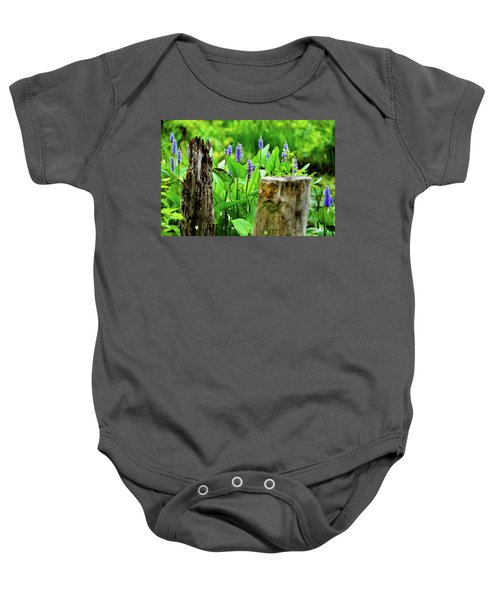 Blue Flowers And Artistic Logs Baby Onesie