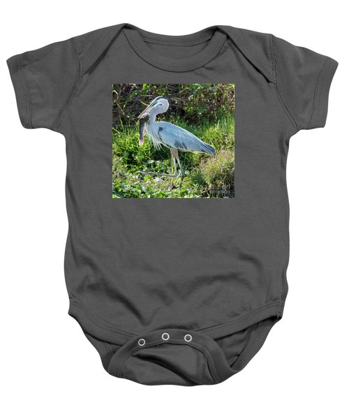 Blue Heron With Fish Baby Onesie