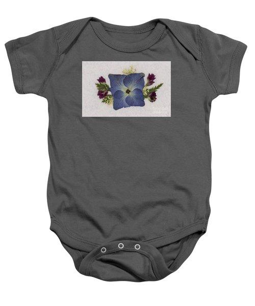 Blue Hydrangea Pressed Floral Design Baby Onesie