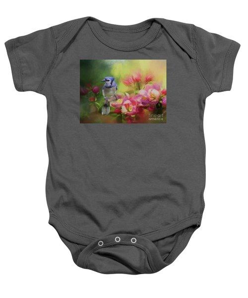 Blue Jay On A Blooming Tree Baby Onesie