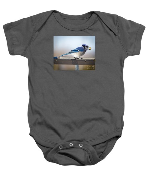 Blue Jay With A Mouth Full Baby Onesie by Ricky L Jones