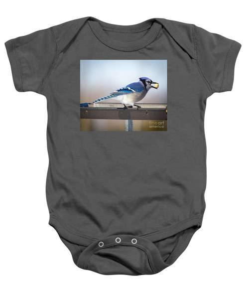 Blue Jay With A Mouth Full Baby Onesie