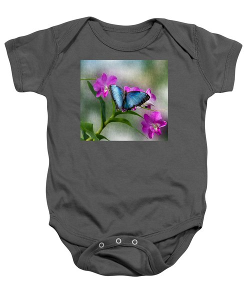 Blue Morpho With Orchids Baby Onesie