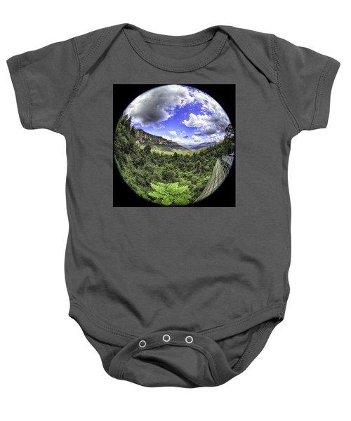 Blue Mountains Fisheye Baby Onesie