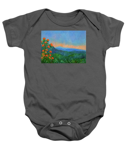 Baby Onesie featuring the painting Blue Ridge Morning by Kendall Kessler