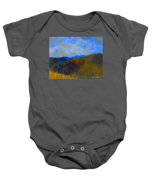 Baby Onesie featuring the painting Blue Ridge Swirl by Kendall Kessler