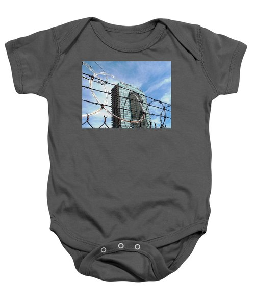 Blue Sky And Barbed Wire Baby Onesie
